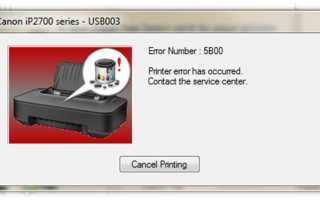 Ошибки принтера MG2440: коды Canon Pixma, выдает 5B00